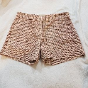 Ann Taylor Cotton Cream/Burgundy Patterned Shorts